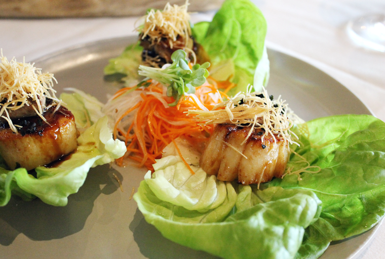 Lettuce cups filled with seared scallop and seared foie gras.