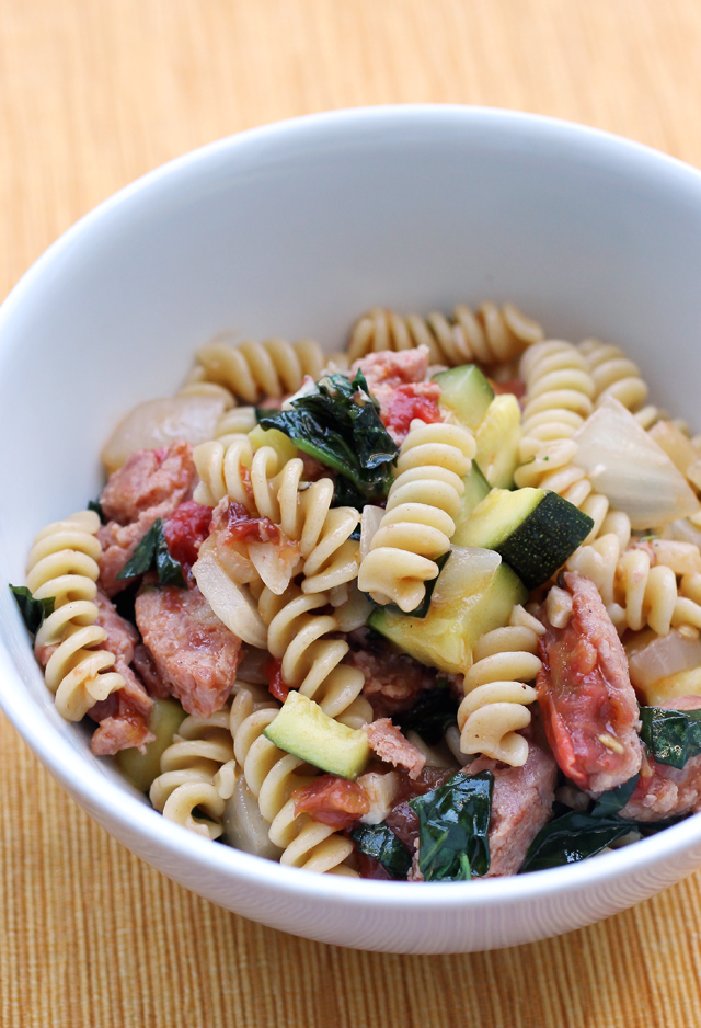 Cooked up with sausage, zucchini, garlic, tomatoes and basil.