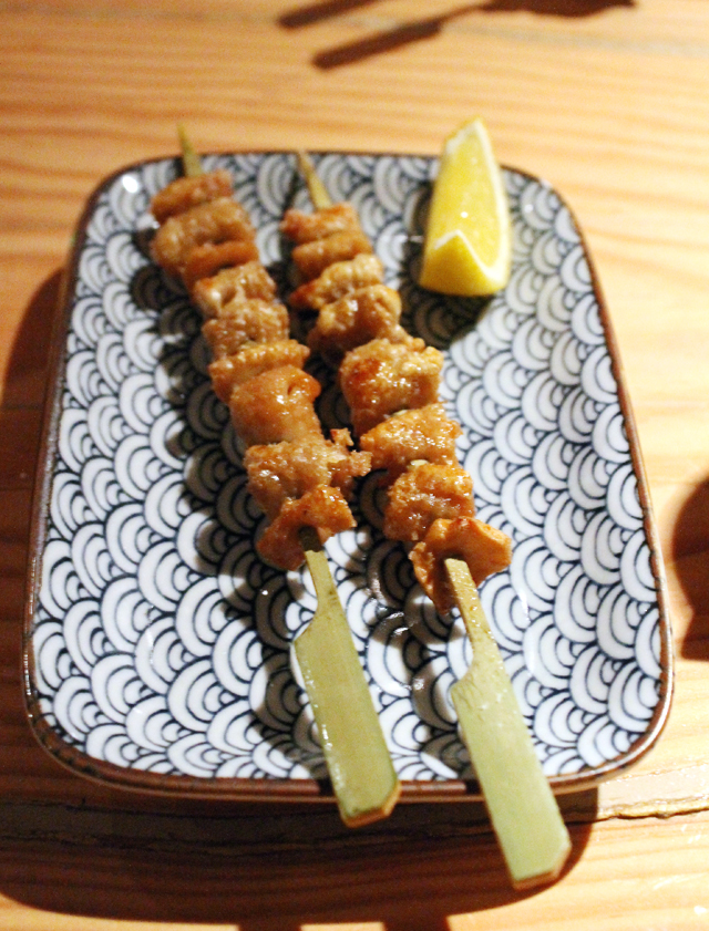 Chicken skin skewers.