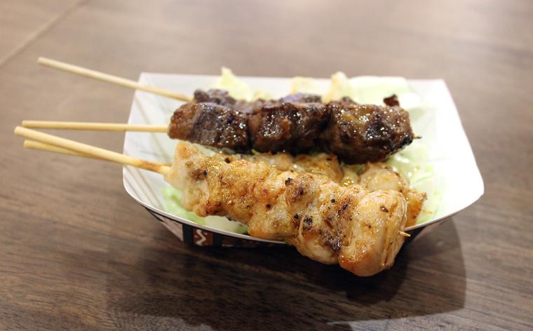 Chicken thigh and beef yakitori skewers.