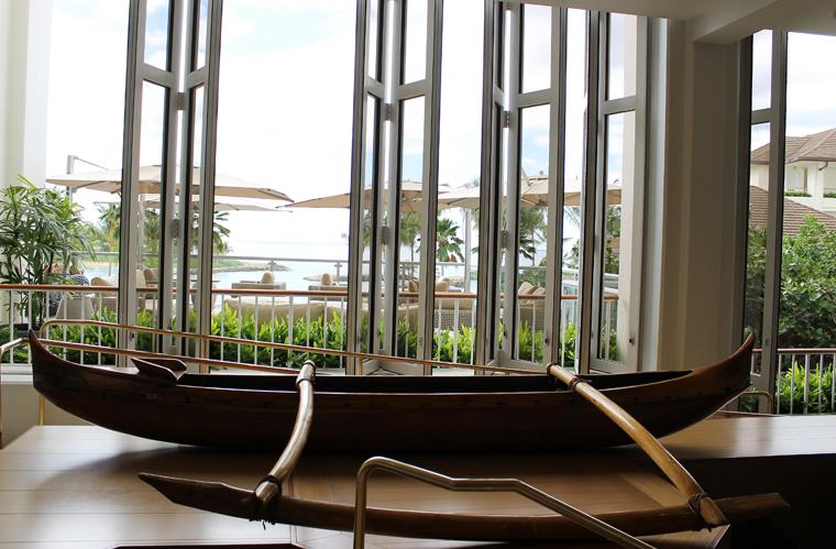 The lobby decor.