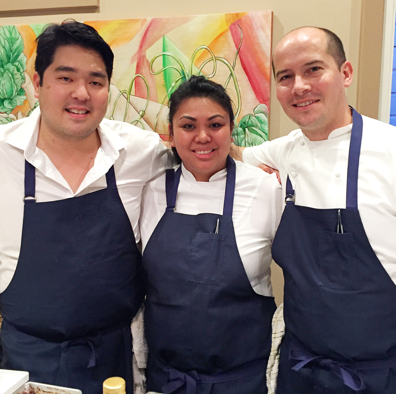 Chefs ChrisKajioka, Mimi Mendoza and Anthony Rush of the soon-to-open Senia restaurant.