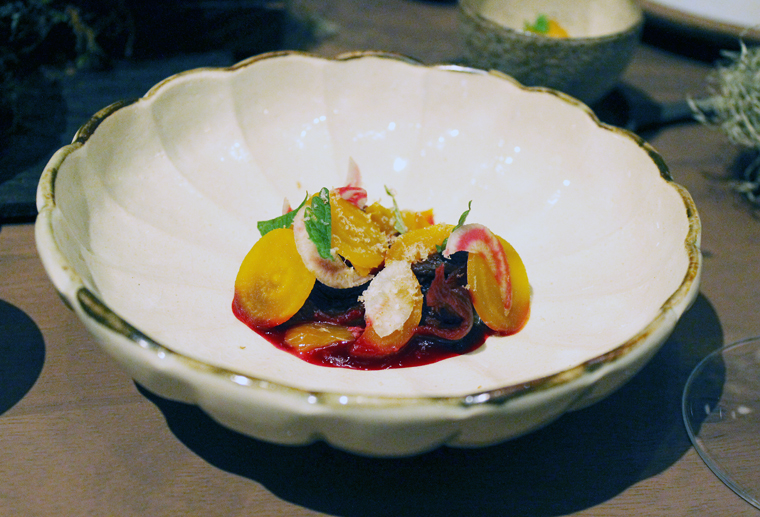 Beets and pickled plum.