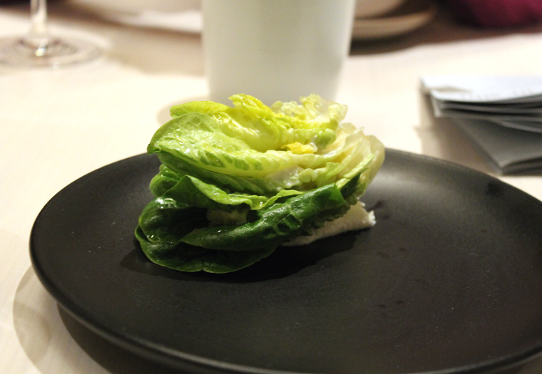 A sandwich of lettuce leaves and more.