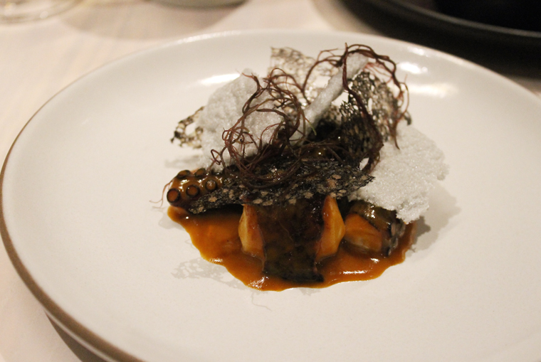 Octopus paired with seaweed.