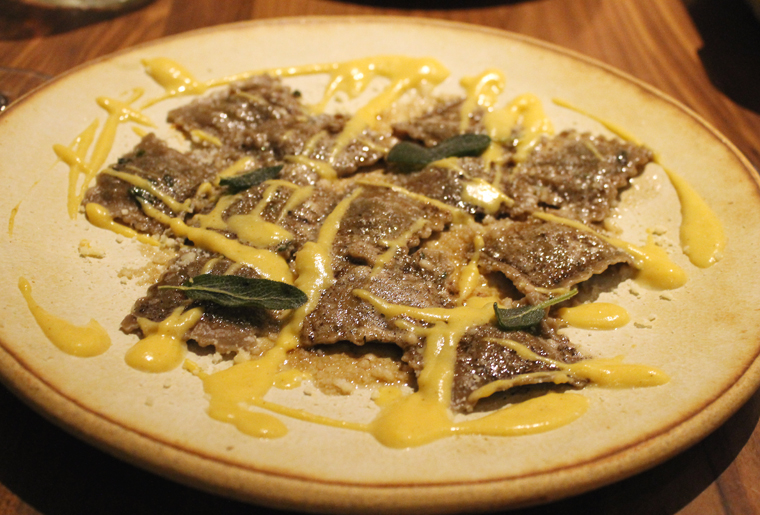 Dried porcini is mixed into the dough for these raviolini.