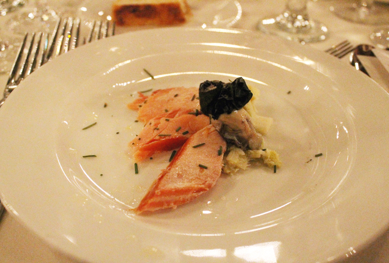 Smoked trout with oyster.