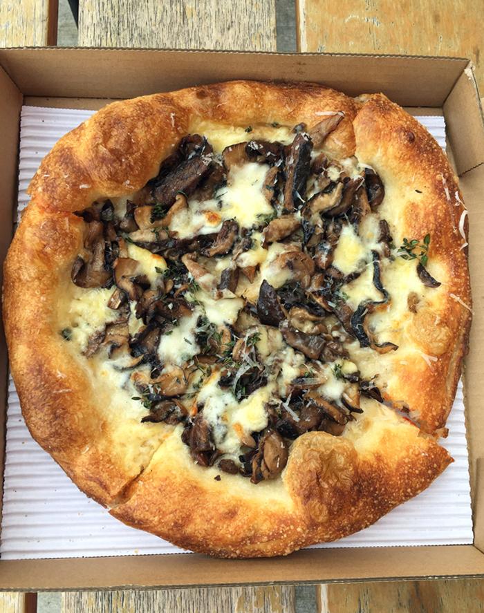 Mushroom, fontina, taleggio and thyme pizza from Mozza.