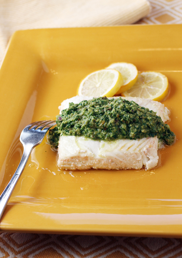 I poached my halibut sample in olive oil, and served it with a lively chermoula sauce.