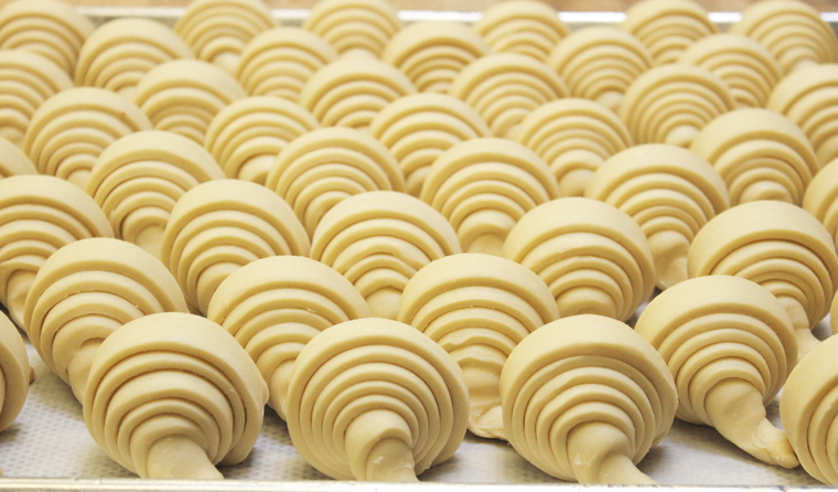 Croissants all rolled by hand.