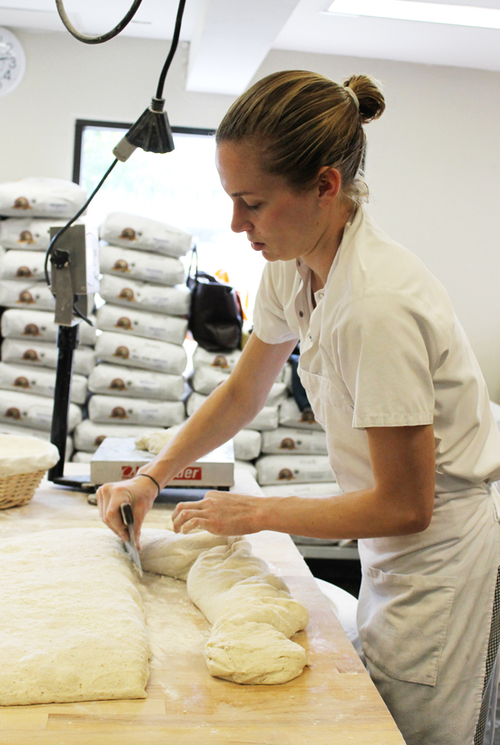 Portioning levain dough at the Manresa Bread production site.