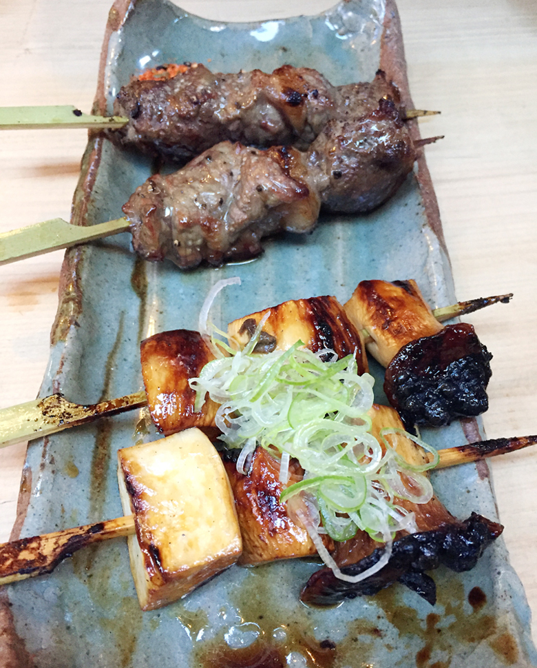 Ribeye (back) and King Trumpet mushroom (foreground) yakitori at Izakaya Rintaro.