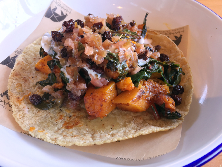 Roasted pumpkin taco.