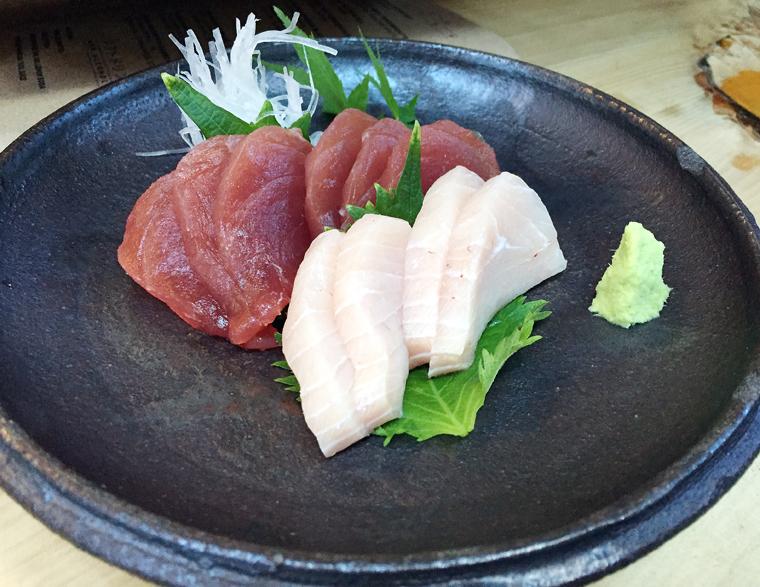 Sashimi with locally grown Half Moon Bay wasabi.