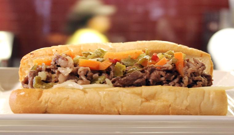 Hot Italian beef sandwich.
