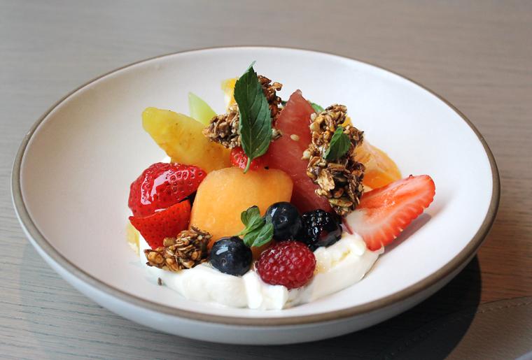 Greek yogurt, summer fruit and shards of house-made granola.
