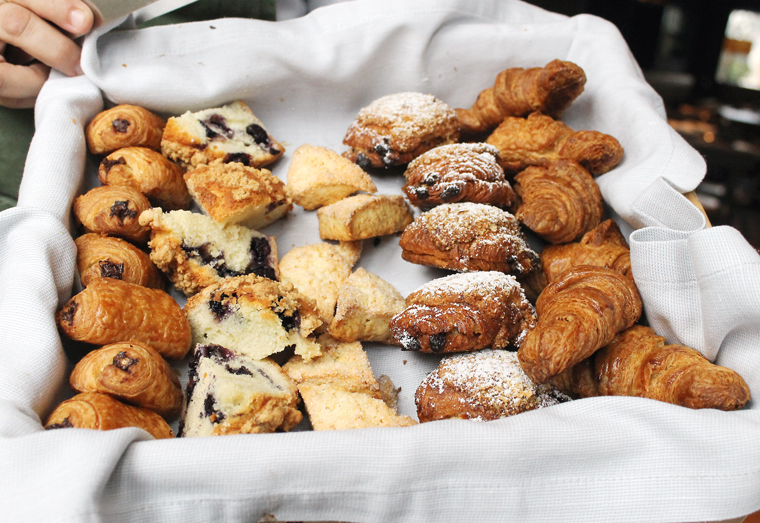 The selection of morning pastries.
