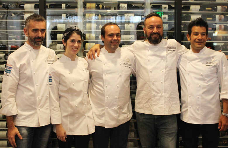 The all-star line-up of Portuguese chefs with a Michelin star: (L to R) Alexander Silva of Loco Lisbon, Jessica Carreira of Adega, David Costa of Adega, Pedro Lemos of Pedro Lemos, and George Mendes of Aldea.
