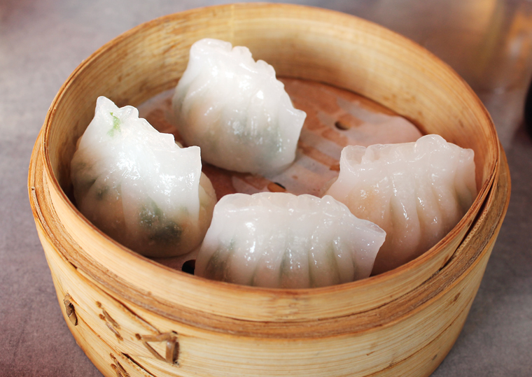 Har gow with shrimp and cilantro.