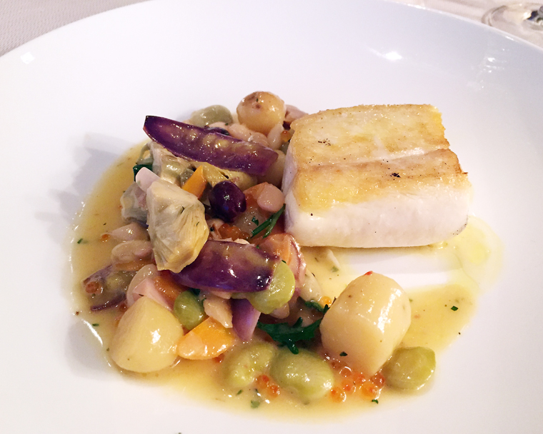Halibut with vegetables.