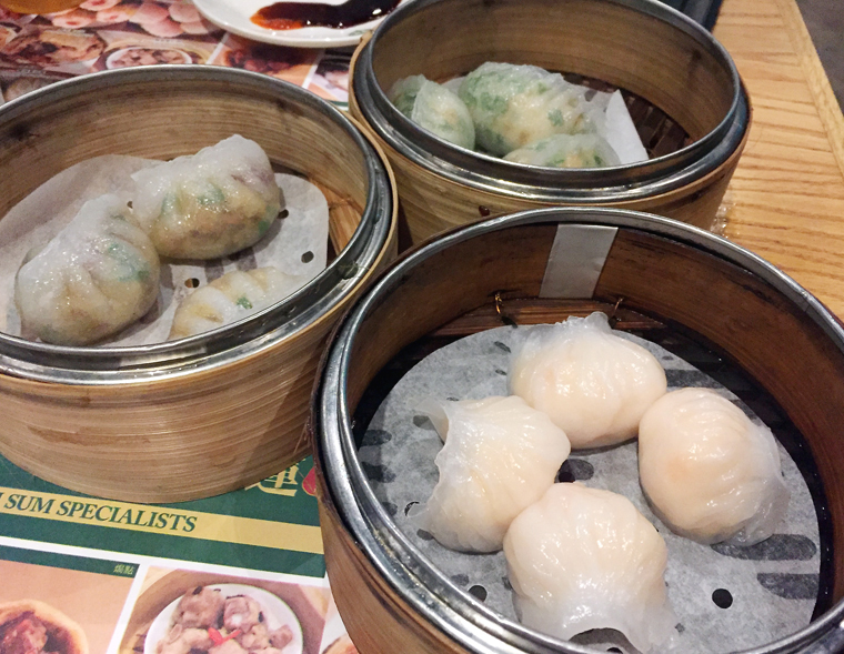 Steamed dumplings Chiu-Chow-style, shrimp and chives dumplings, and har gow.