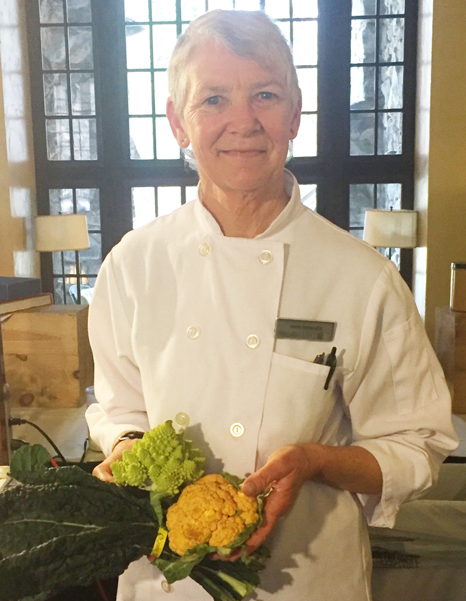 Chef Annie Sommerville holding up some of her favorite ingredients.