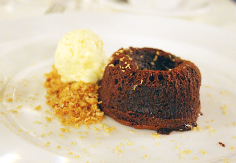Warm chocolate cake.