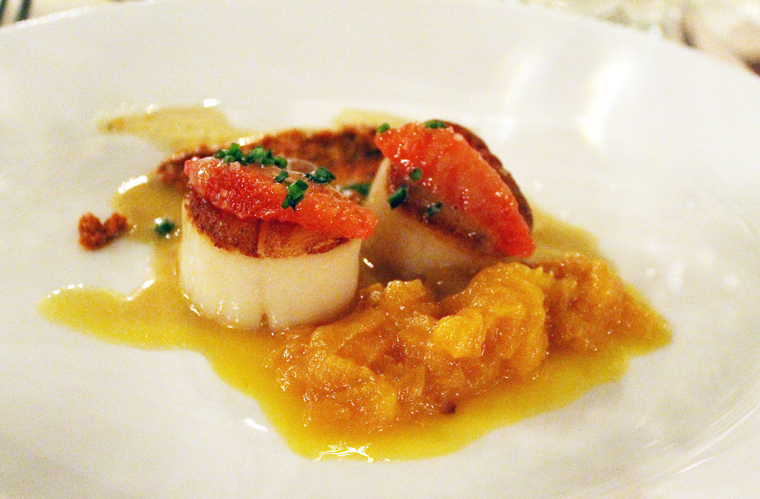 Lovely seared scallops by Bazirgan.