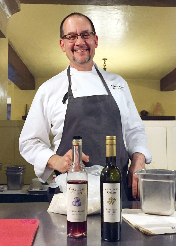 Brian Streeter getting ready for his demo with -- what else -- Cakebread Cellars vinegars.