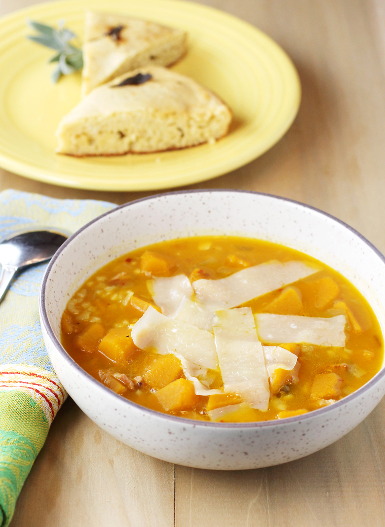 Settle into 2018 with soothing home-made pumpkin soup and sage bread.