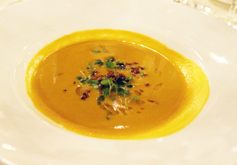 Rich Table's squash soup with miso and sesame.
