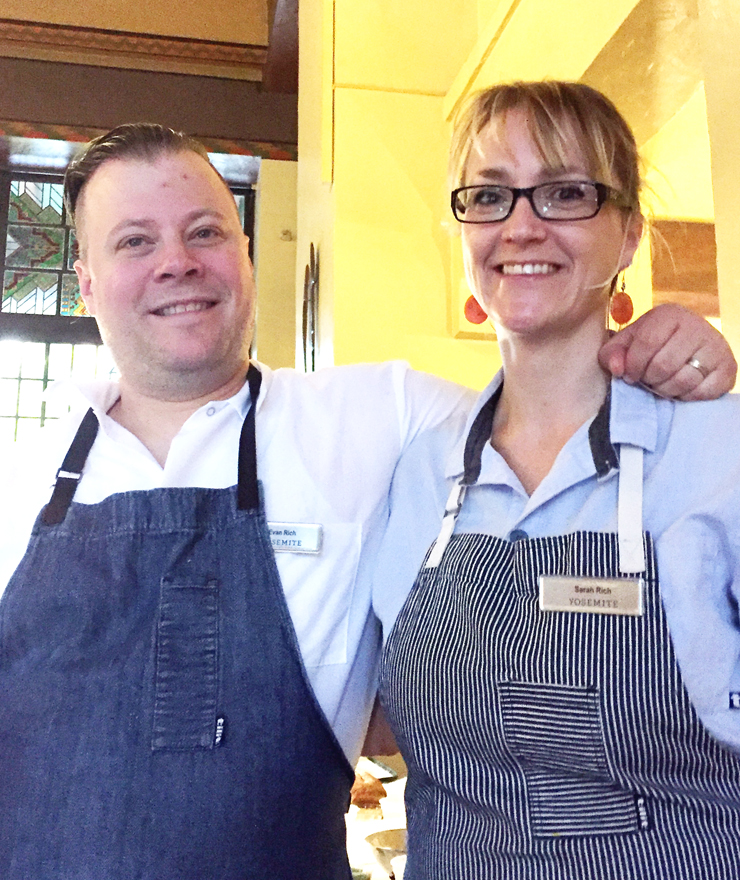 Chefs Evan and Sarah Rich of Rich Table getting ready to start their demo.