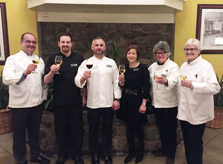 (Left to Right): Brian Streeter of Cakebread Cellars, Sous Chef Adam of Bambara, Chef David Bazirgan of Bambara, yours truly, and Sue Conley and Peggy Smith of Cowgirl Creamery.