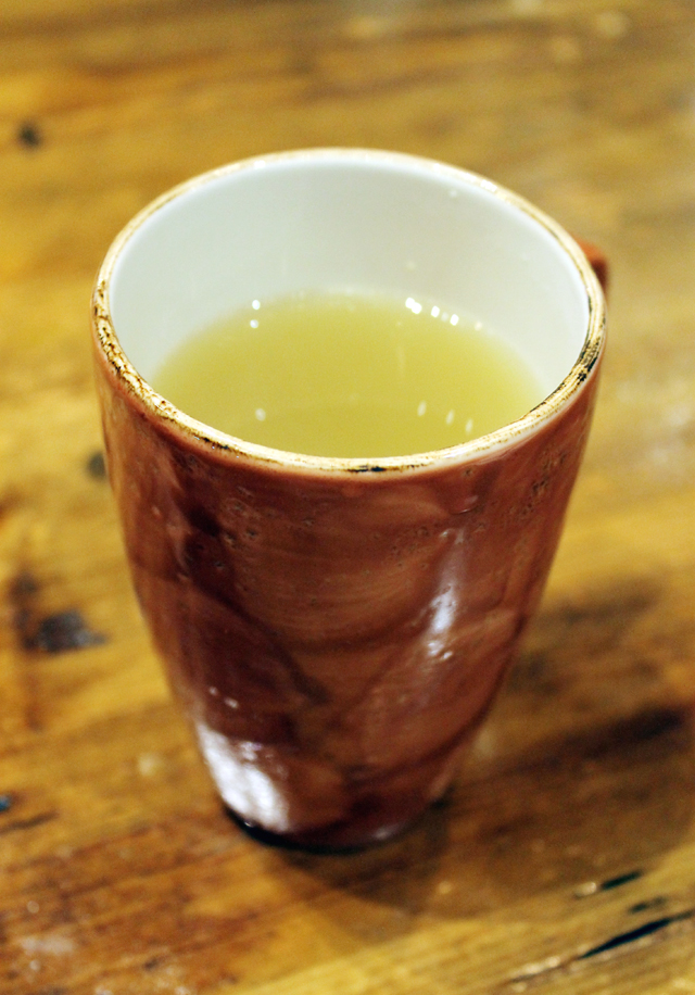 Soothing ginger tea with a big emphasis on the ginger.