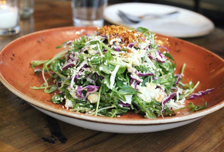 A lively pea shoot salad.