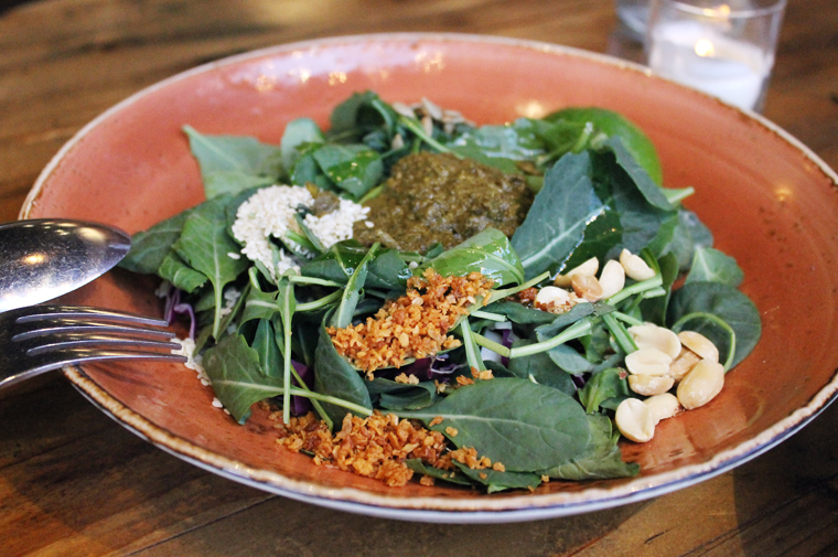 Kale is an inspired addition to the tea leaf salad.