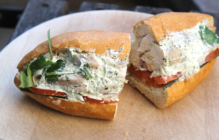 A chicken salad sandwich on house-made bread at B. On The Go.