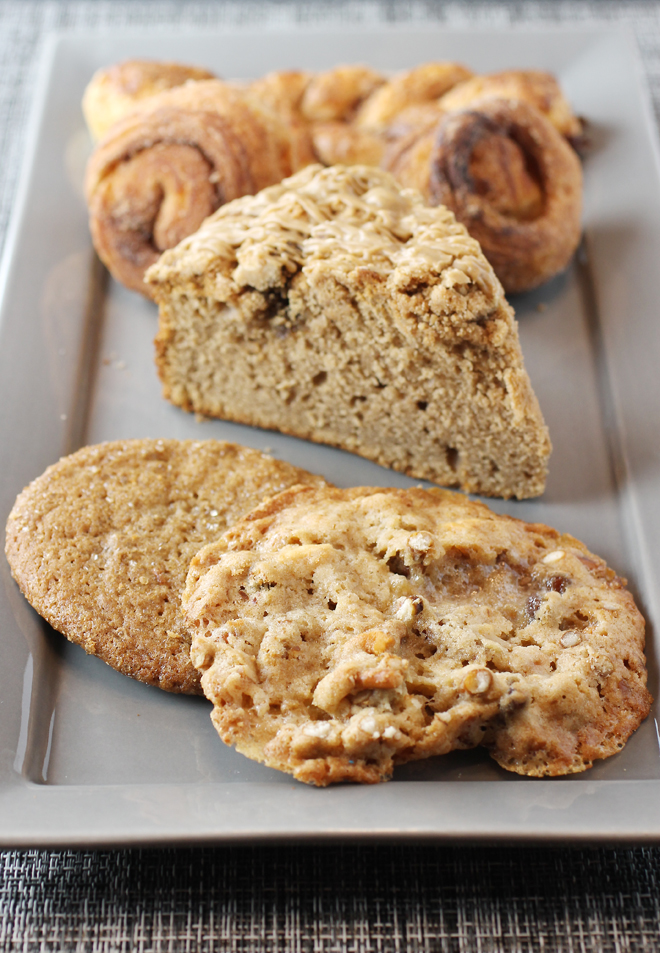 Ginger cookie, Kitchen Sink cookie, and Chai coffee cake.