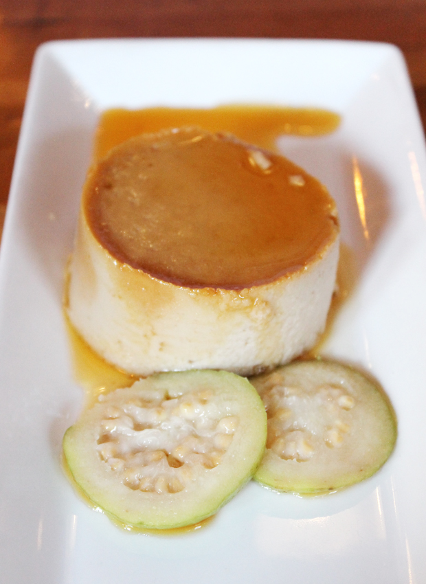 Guava flan with slices of guava.