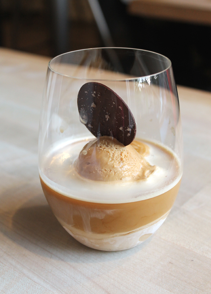 Affogato with caramel ice cream.