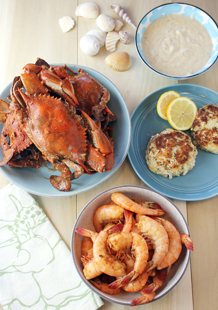 Spicy cooked blue crabs, peel-and-eat-shrimp, crab cakes and crab bisque.