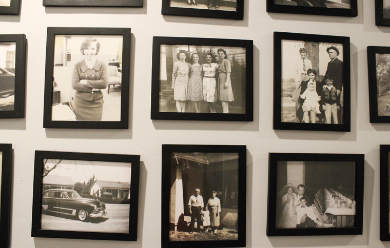 Old famed photos fill another wall.