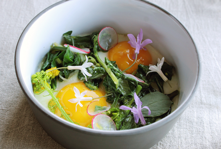 Eggs with garden greens.