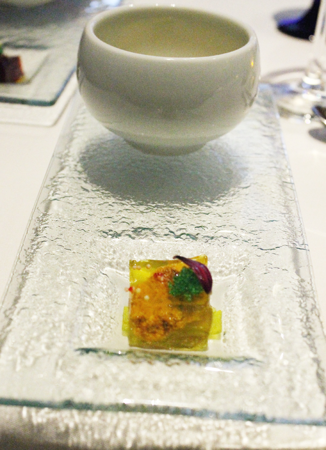 Sea urchin and tomato gelee, front.