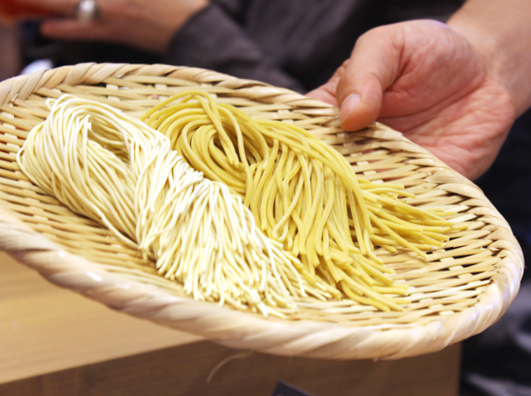 Thin and thick noodles.