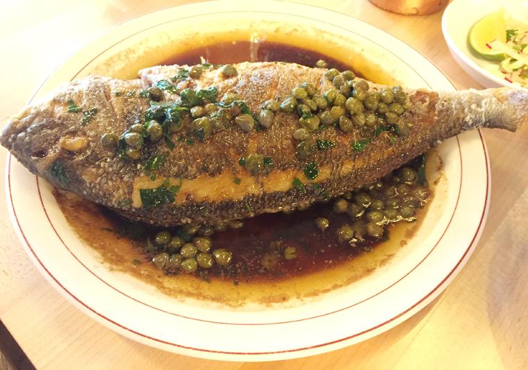 Whole roasted fish.