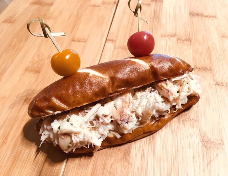 Crab salad pretzel bun. (photo by Kevin Memolo)