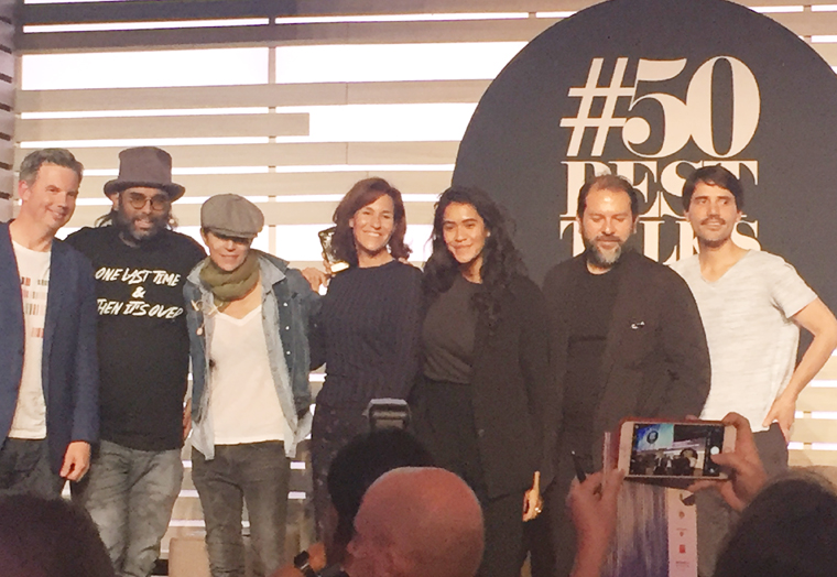 (Left to Right): William Drew, Gaggan Anand, Dominique Crenn, Lara Gilmore, Daniela Soto-Innes, Enrique Olvera, and Virgilio Martinez.
