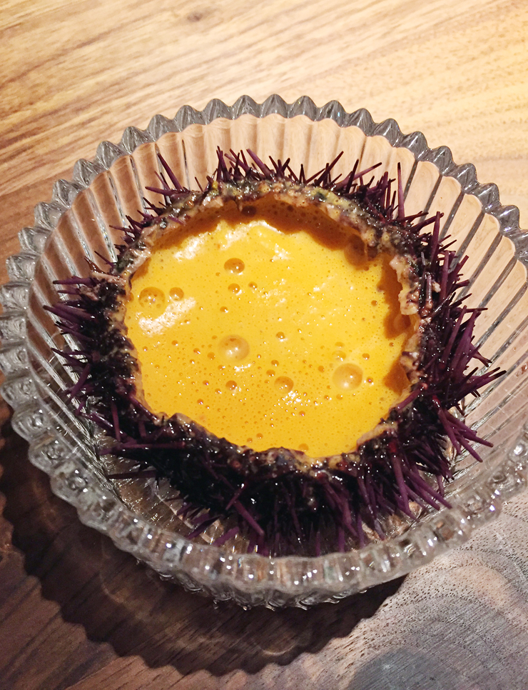 A sea urchin dish at Angler in San Francisco.