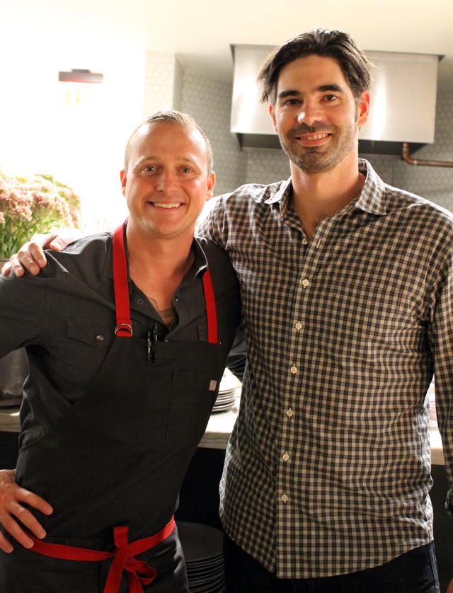 Chef David Nayfeld and business partner Matt Brewer in the kitchen.